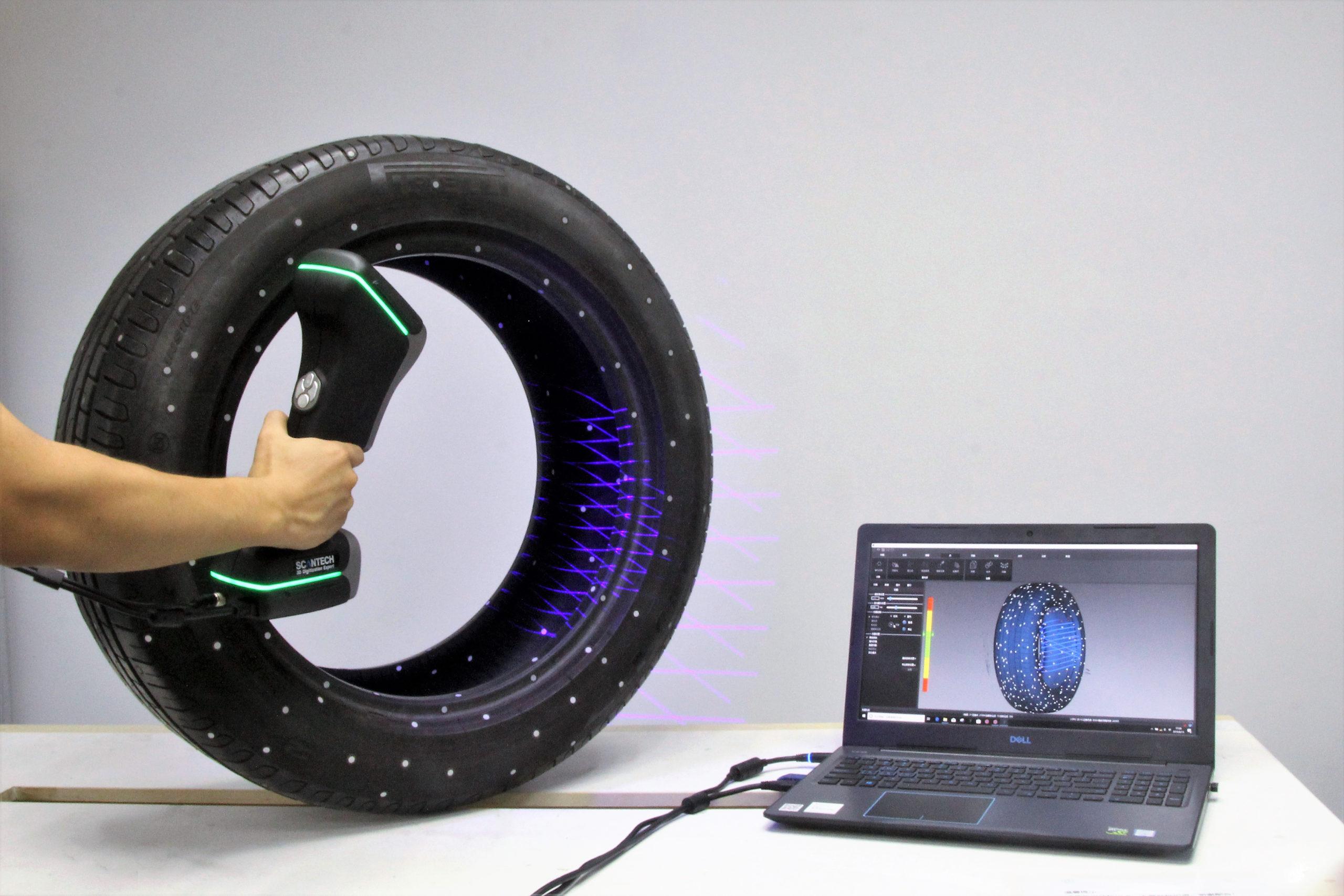 Skaner ręczny 3D ScanTech AXE - pomiar opony