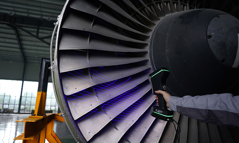 ScanTech KSCAN Magic Skanowanie 3D silnika lotniczego