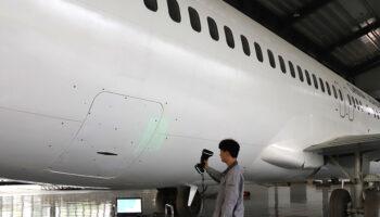 Reczny skaner laserowy 3d kscan magic pomiar samolotu