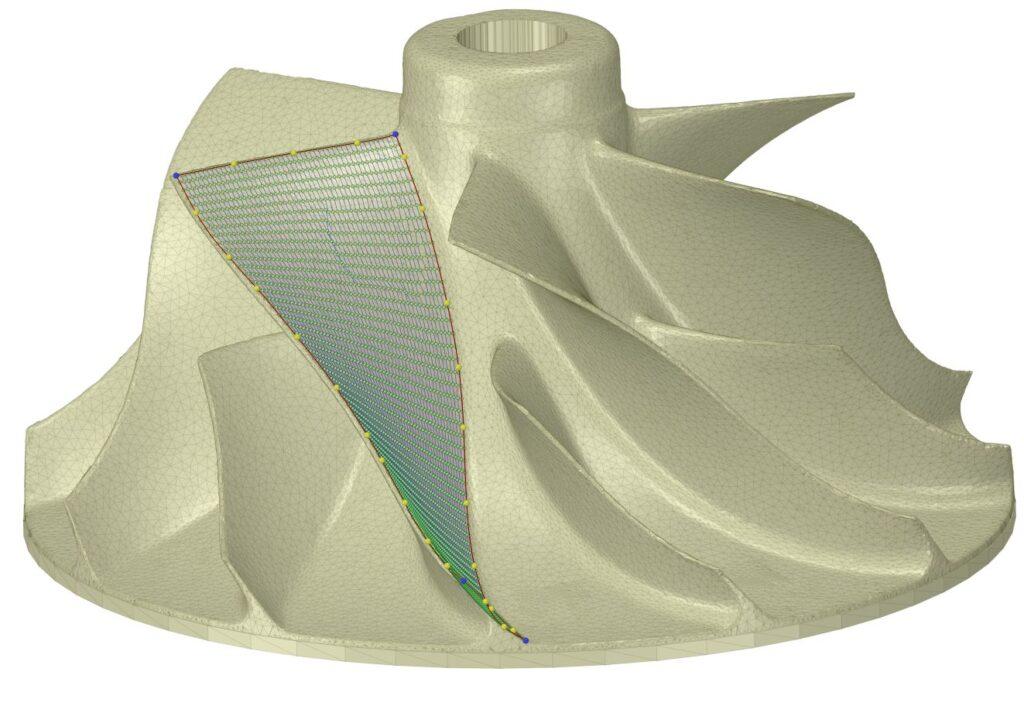 Inżynieria odwrotna łopatek turbiny skanowanie 3D ANSYS Spaceclaim