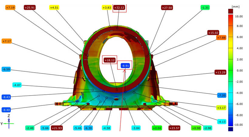 Porownanie z CAD piasty turbiny wiatrowej 1