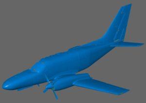 Wynik skanowania 3D samolotu Cessna 441 w postaci STL