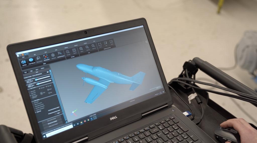 Bezpośredni wynik skanowania 3D samolotu Cessna 441
